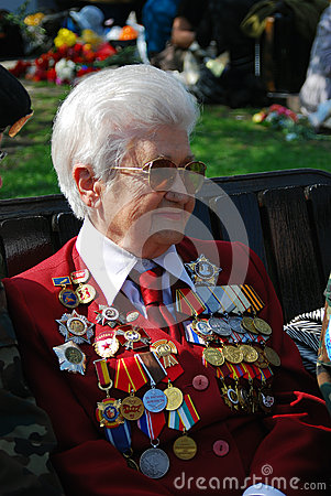 War veteran woman smiling Editorial Image