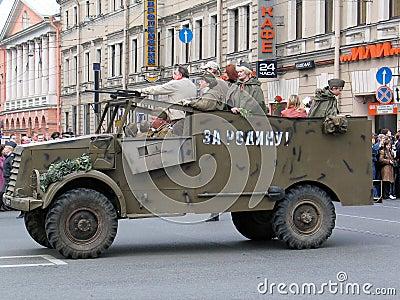 War veterans in old car at a military parade Editorial Stock Photo