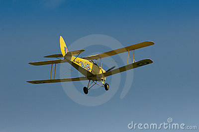 Warbirds - Yellow Tiger Moth in flight Editorial Photography
