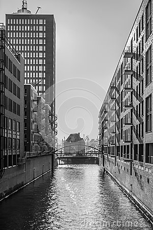 Free Warehouse District In Hamburg - Black & White Royalty Free Stock Image - 84993756