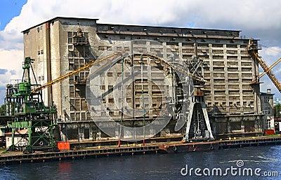 Warehouse docks and cranes