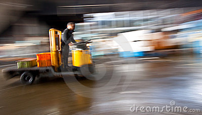 Warehouse dolley Vehicle in motion blur
