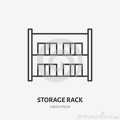 Free Warehouse Flat Line Icon. Storage Rack With Boxes Sign. Thin Linear Logo For Cargo Trucking, Freight Services Stock Photography - 117792522