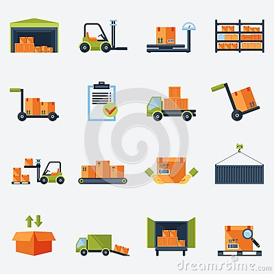 Free Warehouse Icons Flat Royalty Free Stock Photography - 44674077