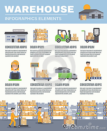 Warehouse Infographics Layout Stock Vector Image 81692572