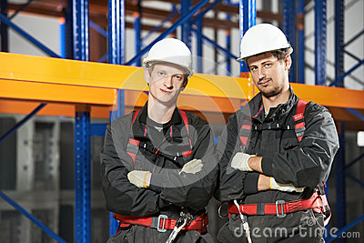 Warehouse installation staff workers