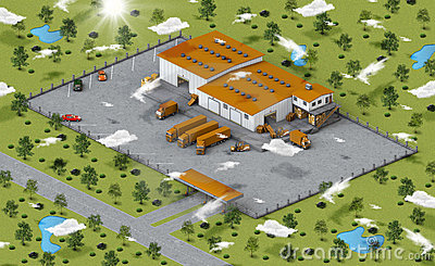 Warehouse in isometric view