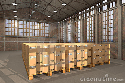 Warehouse with many boxes