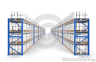 Warehouse Shelves 2 rows. Floor Shadows.