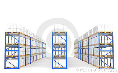 Warehouse Shelves, Front view with shadows.