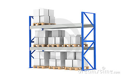 Warehouse Shelves. Medium Stock Level.