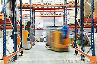 Warehouse truck loader works
