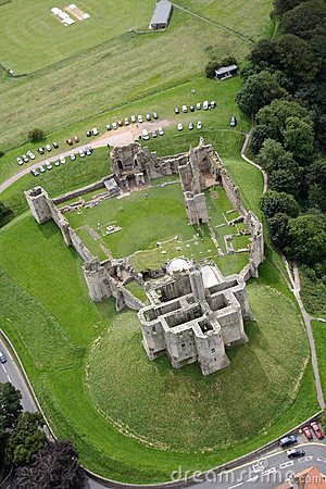 Warkworth Castle from the air