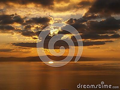 Warm cloudy sunset