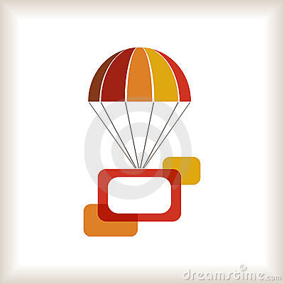 Warm colored flying parachute with frame.