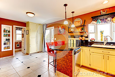 Warm colors cozy kitchen room
