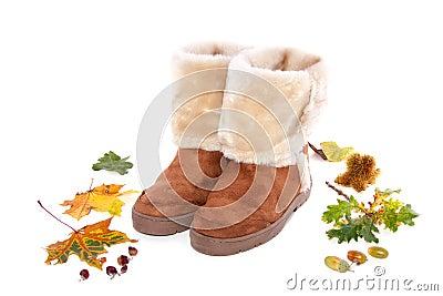 Warm fur boots between autumn fallen leaves