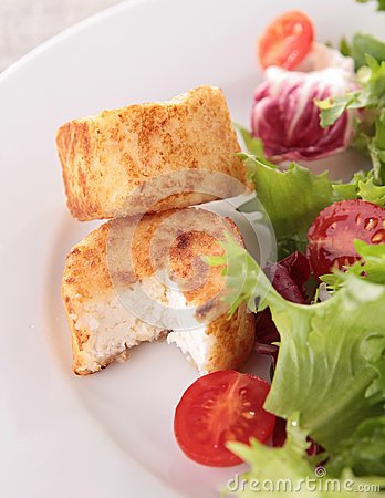 Warm goat cheese and salad