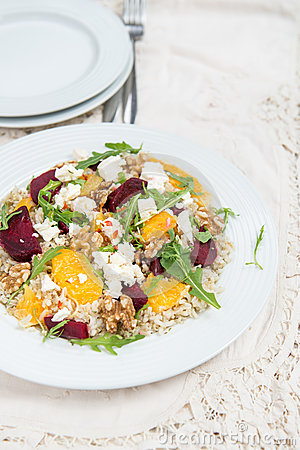 Free Warm Healthy Quinoa, Brown Rice, Cooked Beetroot And Orange Sala Stock Photography - 73238312