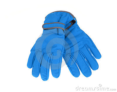 Warm pair of winter blue ski gloves