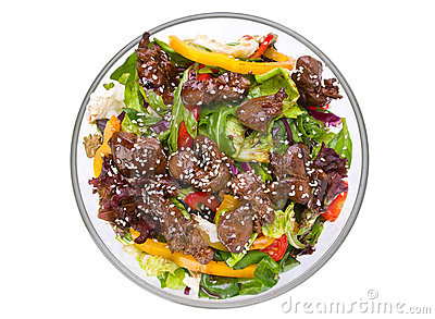 Warm salad with chicken liver
