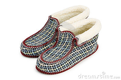 Warm slippers isolated