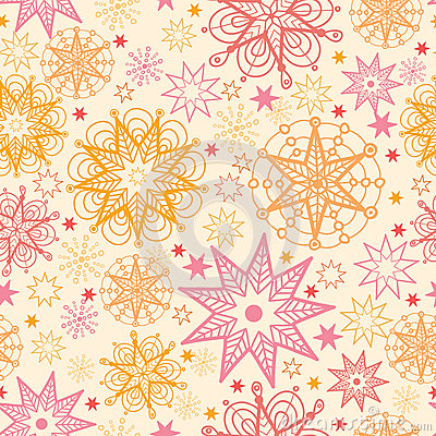 Warm stars seamless pattern background