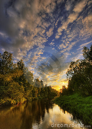 Free Warm Sunset River Of Russia Stock Photos - 7032243