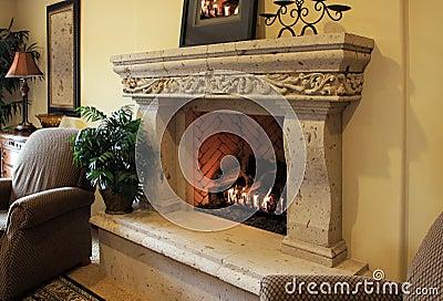 A warm wood fire