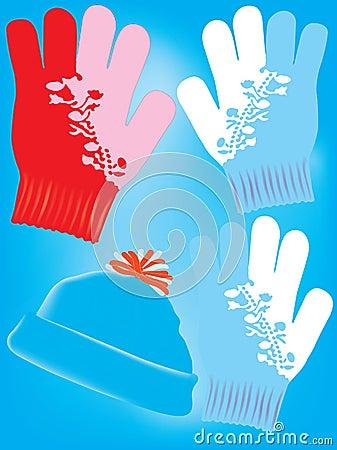 Warme Handschuhe und Hut