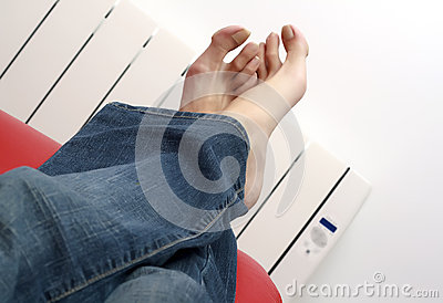 Warming feet against the radiator