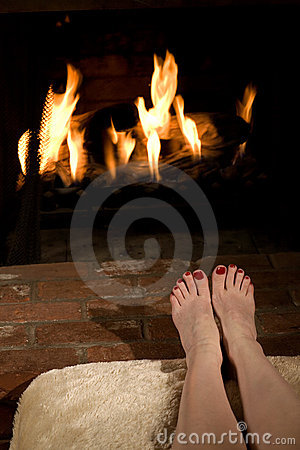 Warming toes by the fire