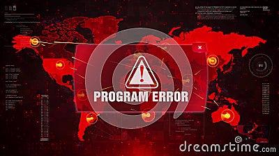 Warnender Angriff des Programmfehler-Alarms auf Schirmweltkarte stock abbildung