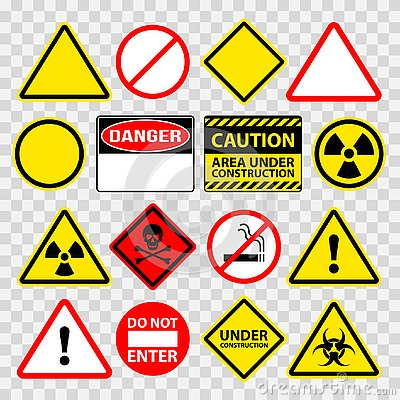 Free Warning Danger Under Construction Sings Icons Vector Set Royalty Free Stock Photos - 144216758