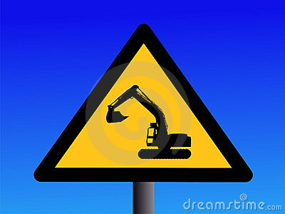 Warning excavator sign