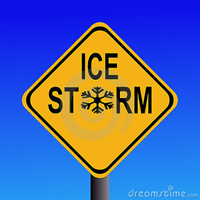 Warning Ice storm sign