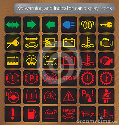 Warning and indicator car display icons set