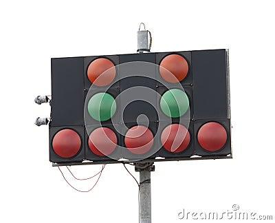 Warning lights at motor racing track