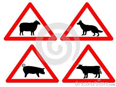 Warning livestock signs