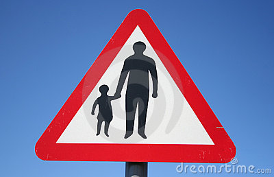 Warning pedestrians sign