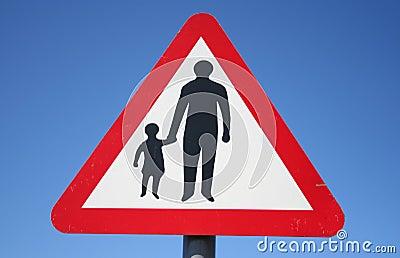 Warning pedestrians sign