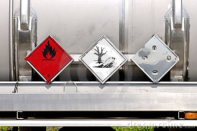 Warning plates on liquid container