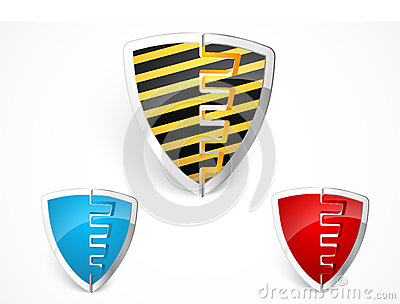 Warning shield merge with yellow stripes