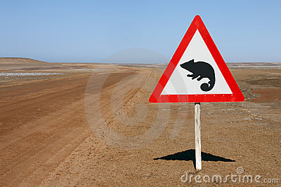 Warning Sign - Chameleons - Namibia