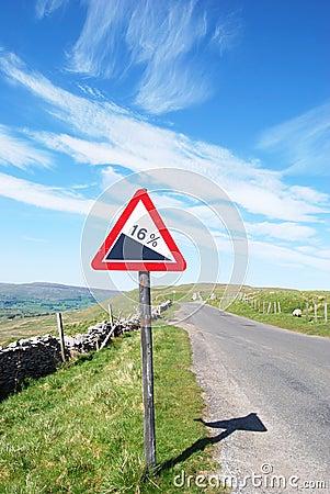 Warning sign on deserted road