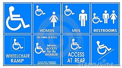 Warning sign for handicapped
