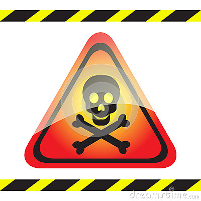 Warning sign of poison on triangular table.