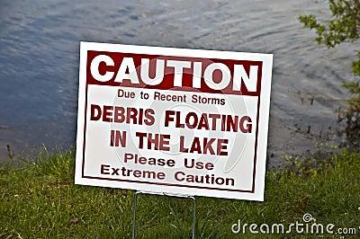 Warning Sign Posted After Tornado