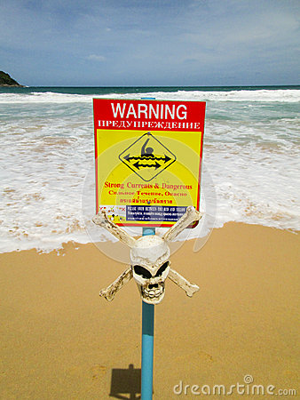 Warning sign with skull. strong currents Editorial Image