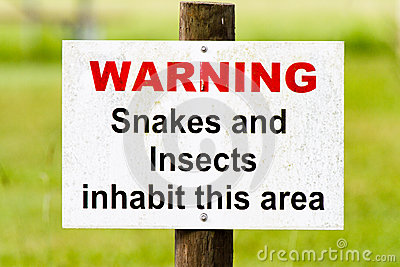 Warning sign snakes & insects